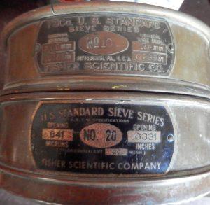 U.S. Standard sieves stacked